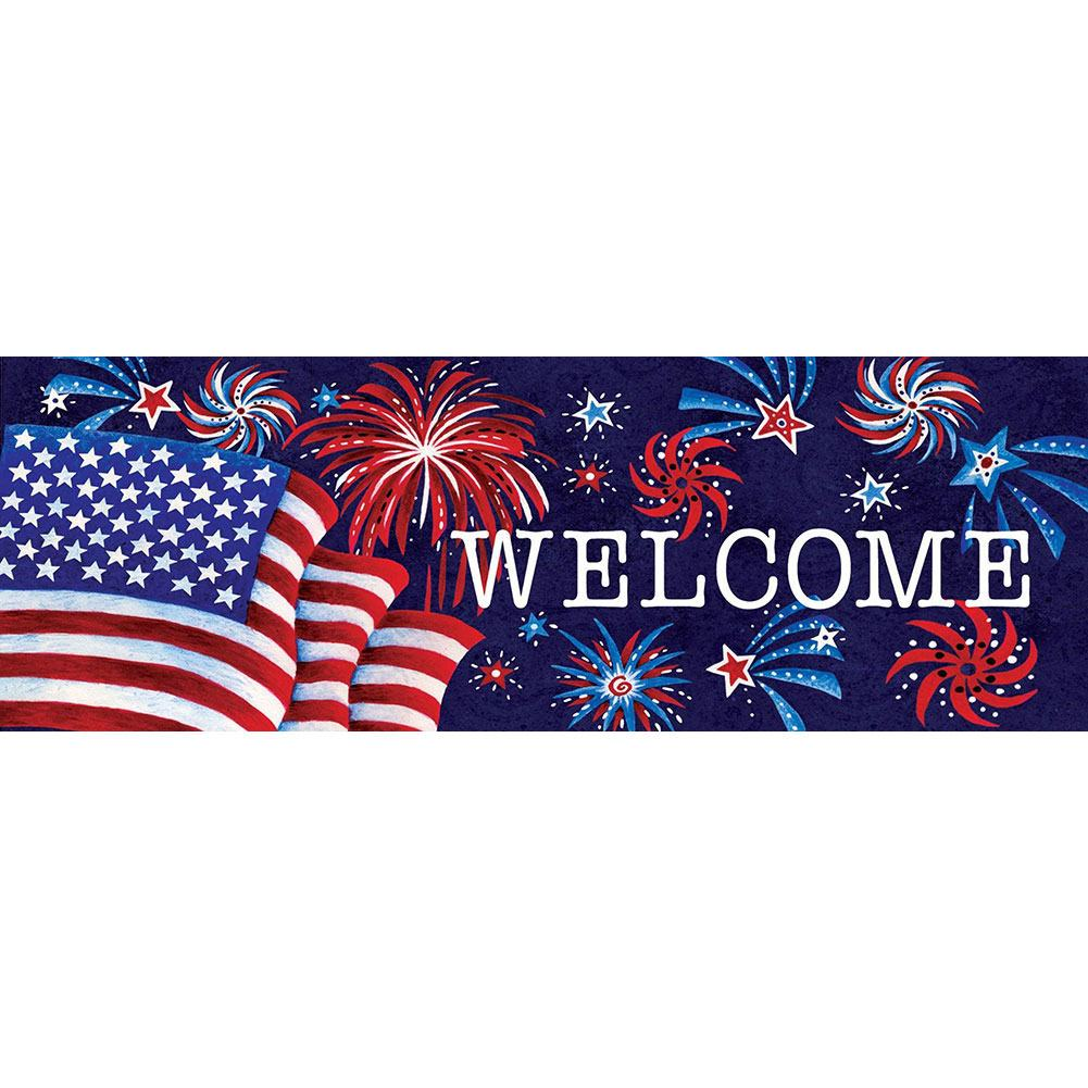 Fireworks And Flag Signature Sign