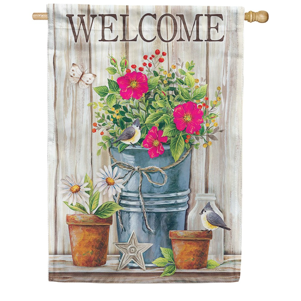 Wildflower Pail Double Sided House Flag