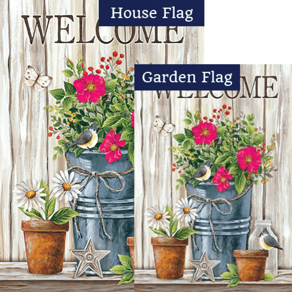 Wildflower Pail Double Sided Flags Set (2 Pieces)