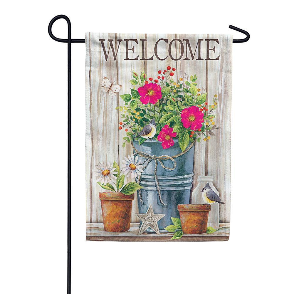 Wildflower Pail Double Sided Garden Flag