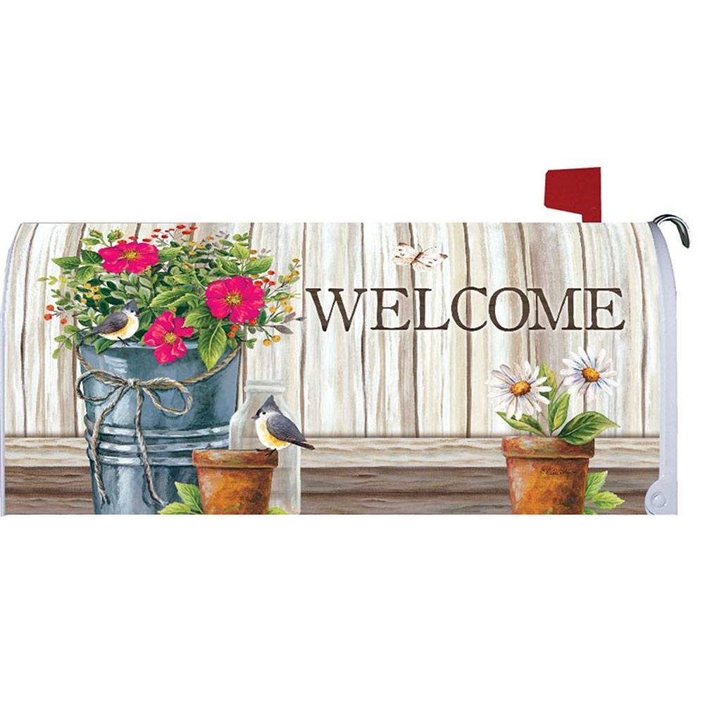 Wildflower Pail Mailbox Cover