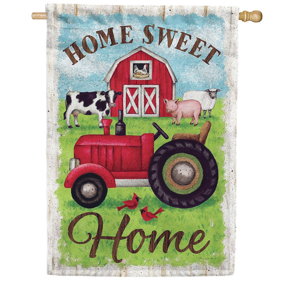 Tractor And Barn Double Sided House Flag