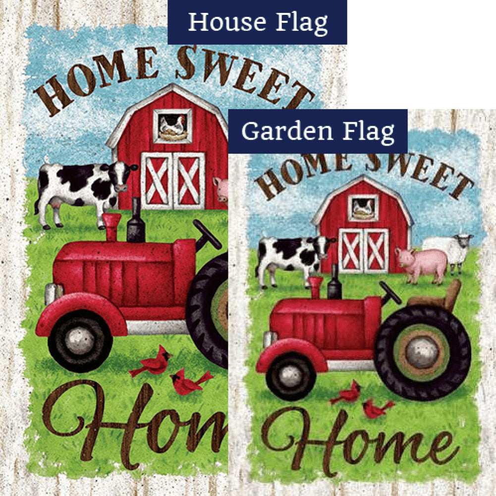 Tractor And Barn Double Sided Flags Set (2 Pieces)