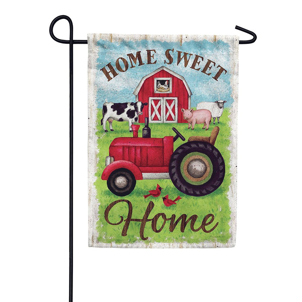 Tractor And Barn Double Sided Garden Flag