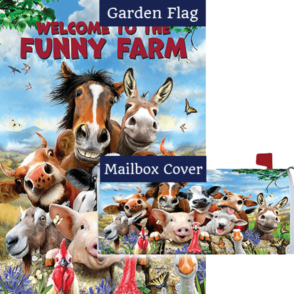 Funny Farm Animals Double Sided Flag Mailwrap Set (2 Pieces)