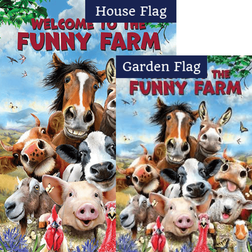 Funny Farm Animals Double Sided Flags Set (2 Pieces)