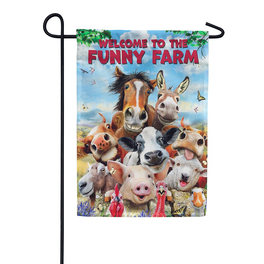 Funny Farm Animals Double Sided Garden Flag