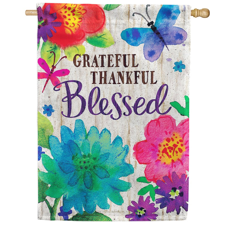 Grateful, Thankful, Blessed Double Sided House Flag