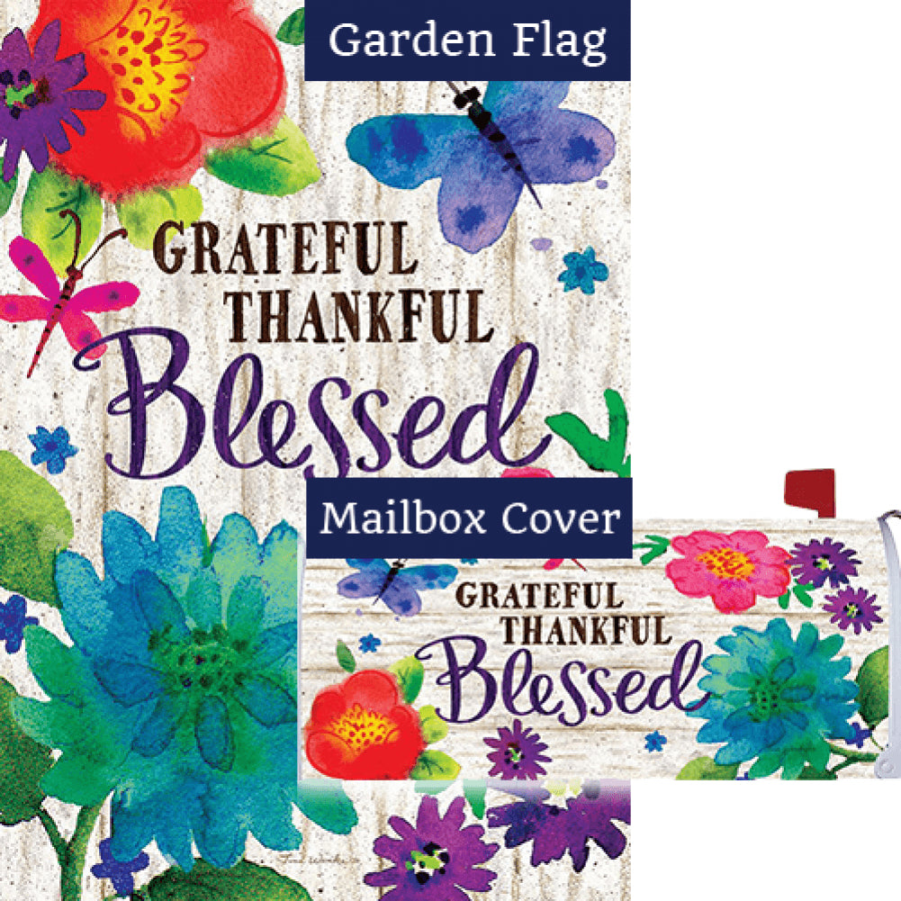 Grateful, Thankful, Blessed Flag Mailwrap Set (2 Pieces)