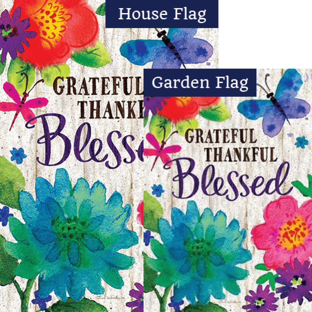 Grateful, Thankful, Blessed Double Sided Flags Set (2 Pieces)