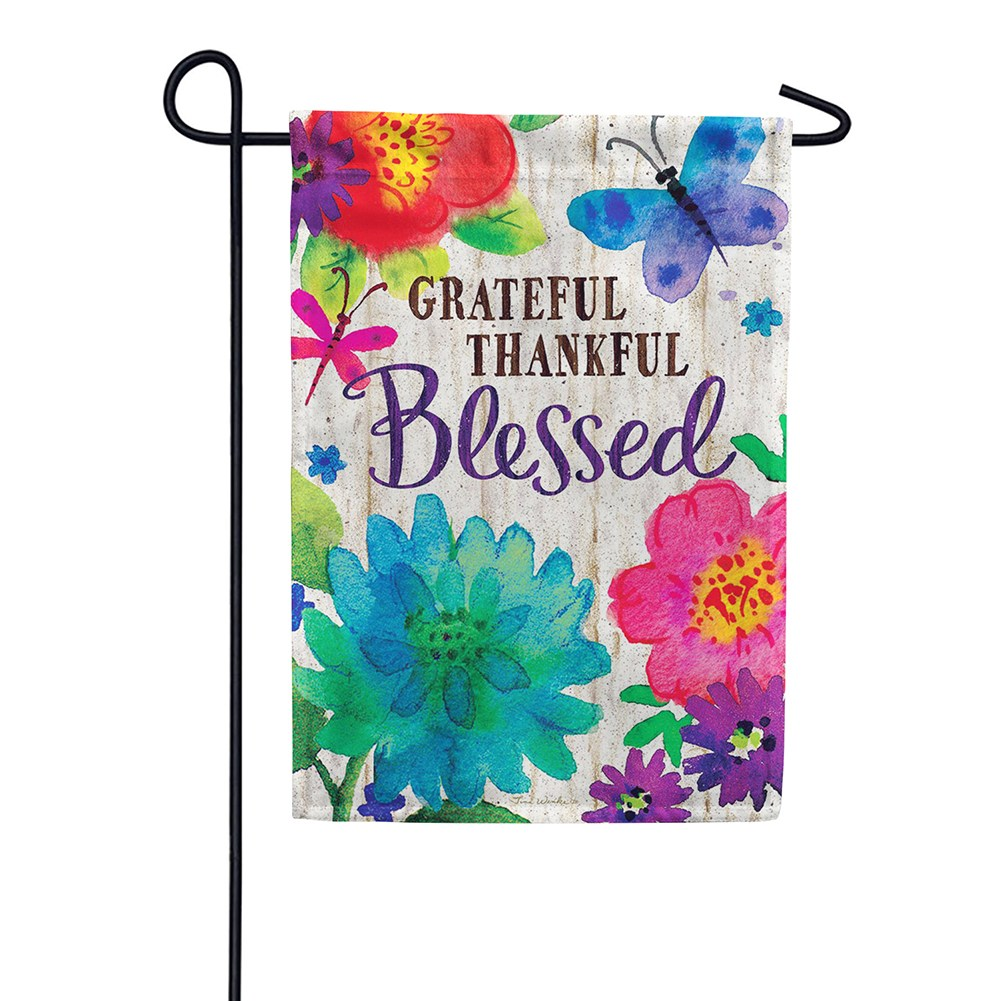 Grateful, Thankful, Blessed Double Sided Garden Flag