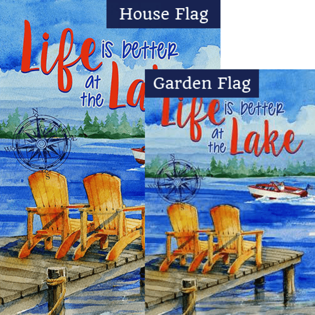 Lake Welcome Double Sided Flags Set (2 Pieces)