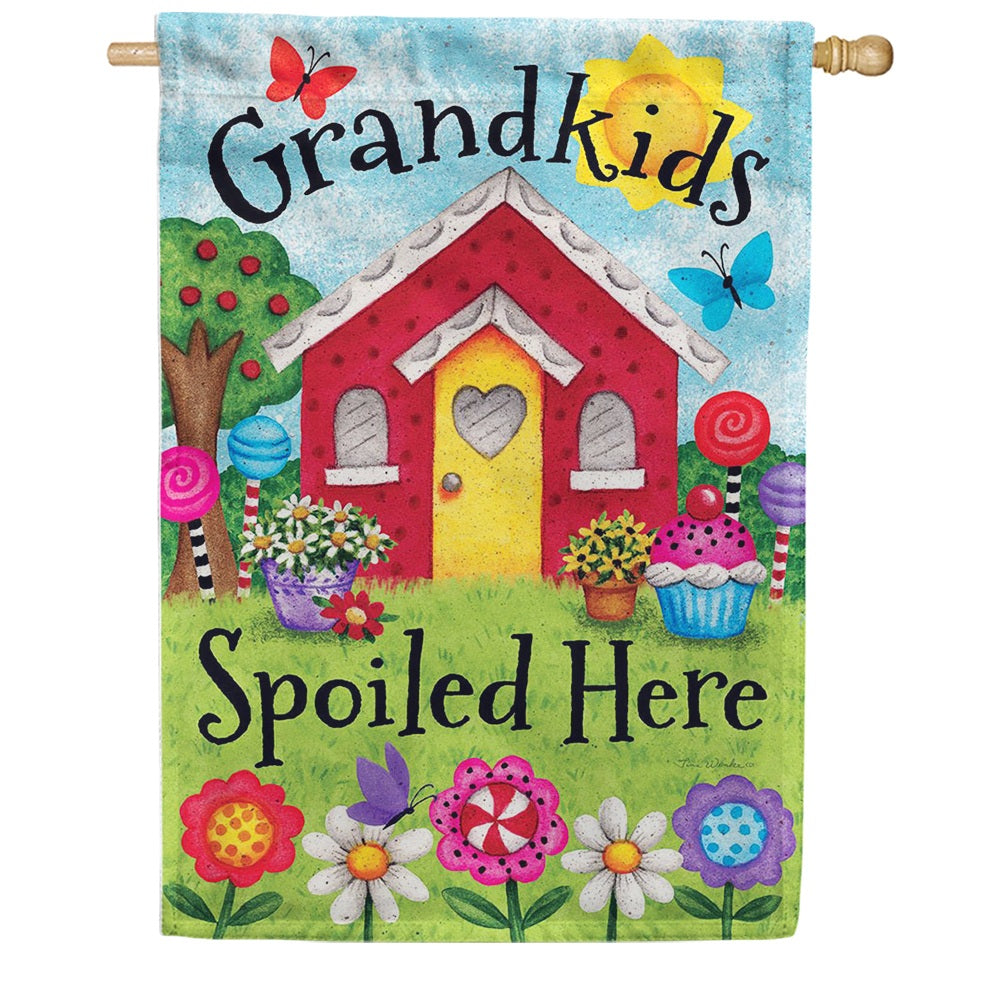 Grandkids Spoiled Here Double Sided House Flag
