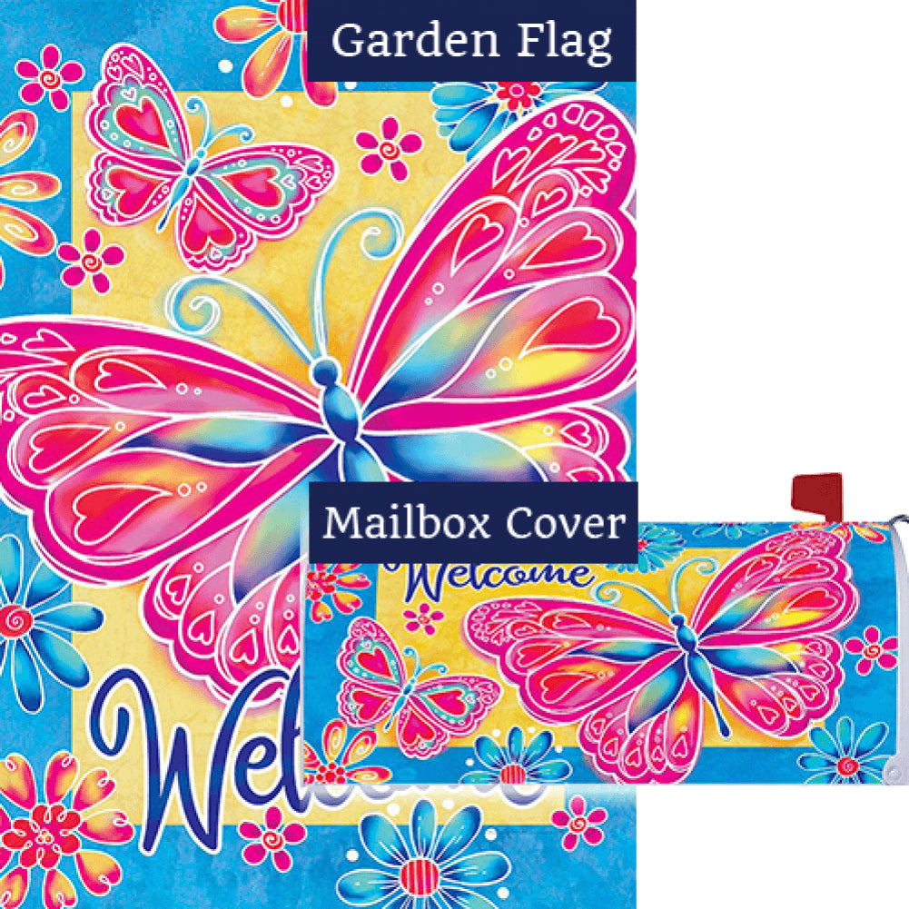 Bright Butterfly Double Sided Flag Mailwrap Set (2 Pieces)