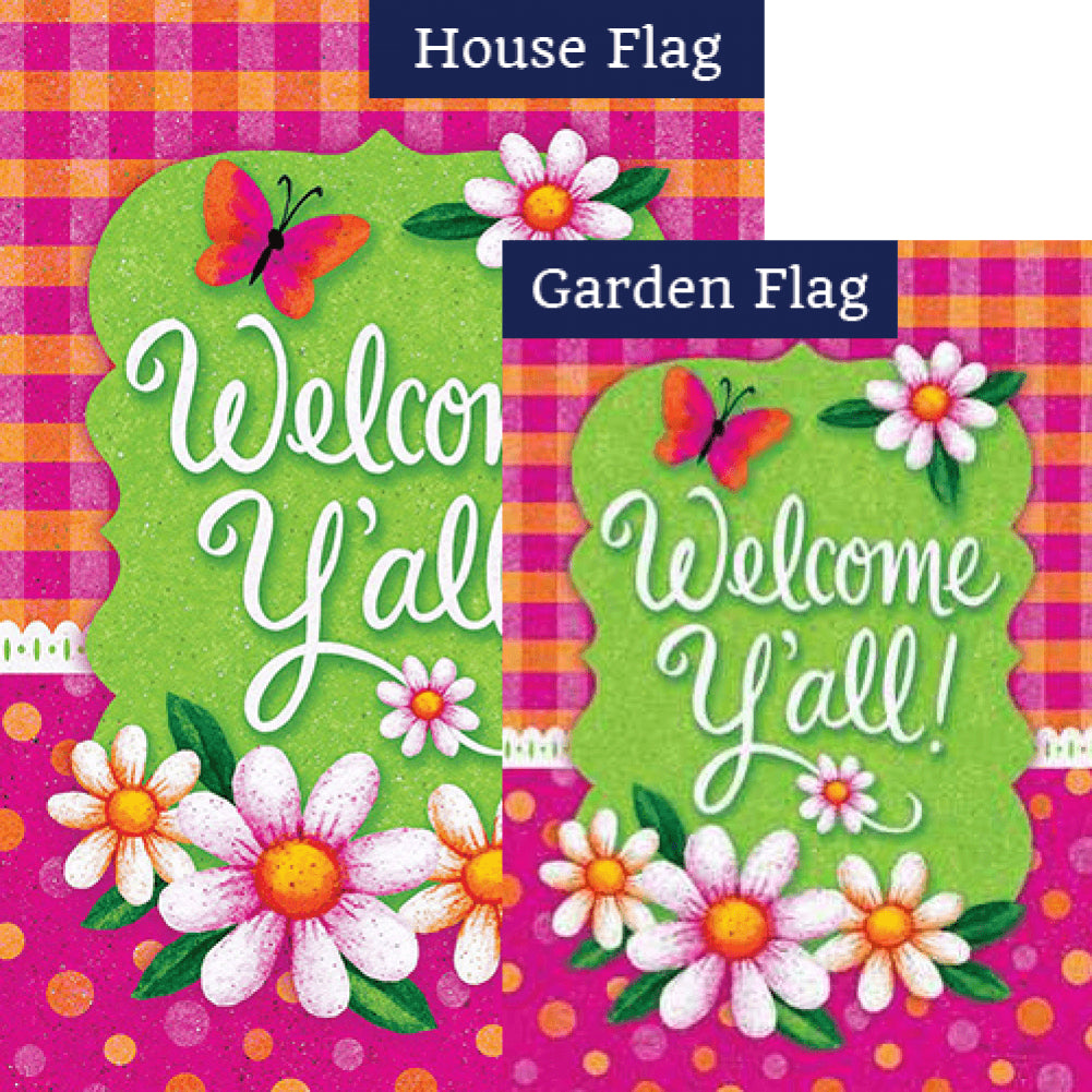 Gingham Polka Dot Double Sided Flags Set (2 Pieces)