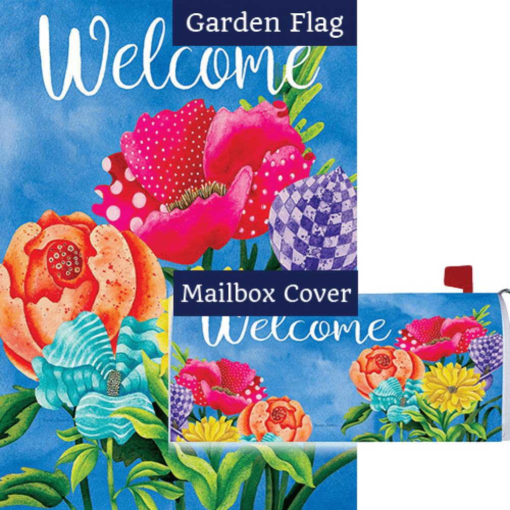 Patterned Posies Double Sided Flag Mailwrap Set (2 Pieces)