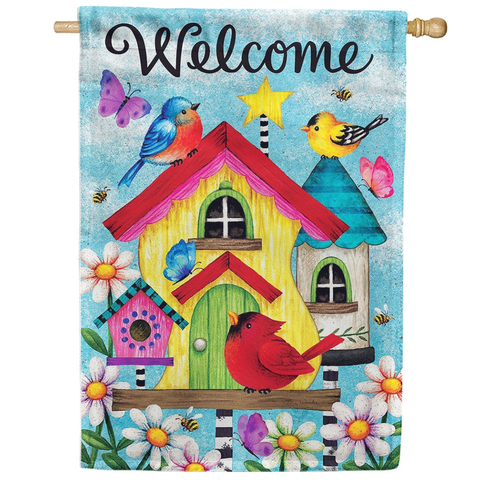 Whimsy Birdhouse Double Sided House Flag