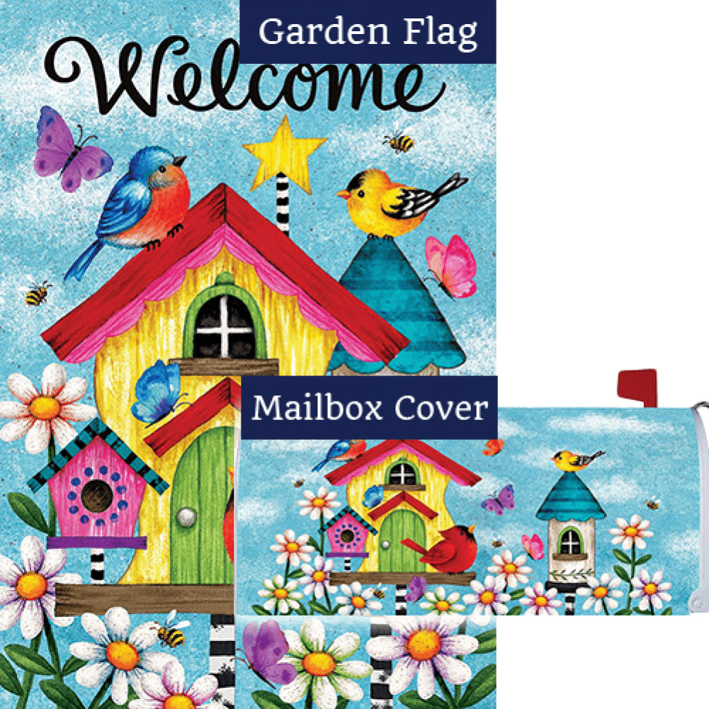 Whimsy Birdhouse Flag Mailwrap Set (2 Pieces)