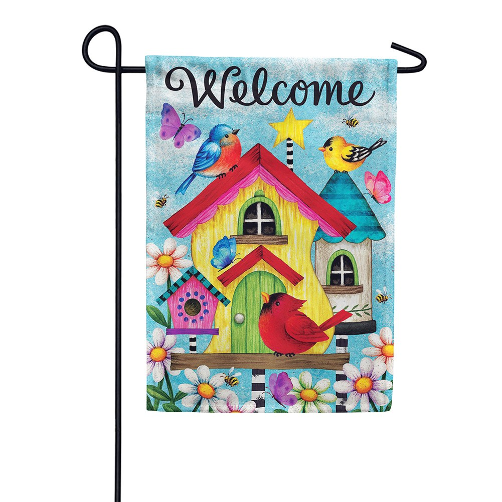 Whimsy Birdhouse Double Sided Garden Flag