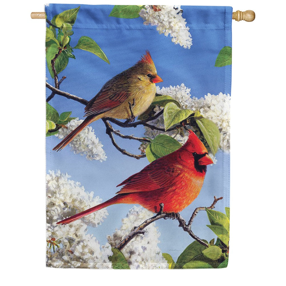 Cardinal And Lilacs House Flag