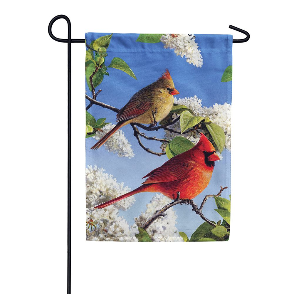 Cardinal And Lilacs Garden Flag