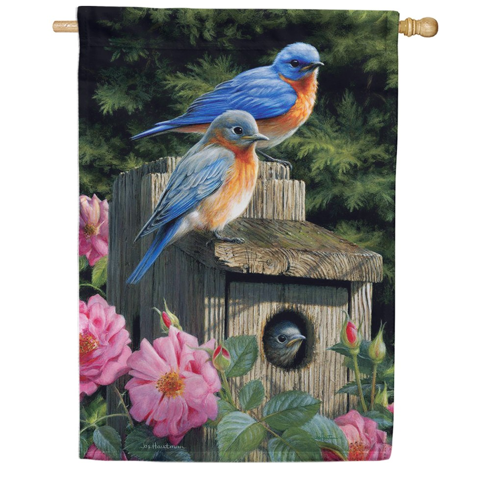 Bluebird House Floral House Flag