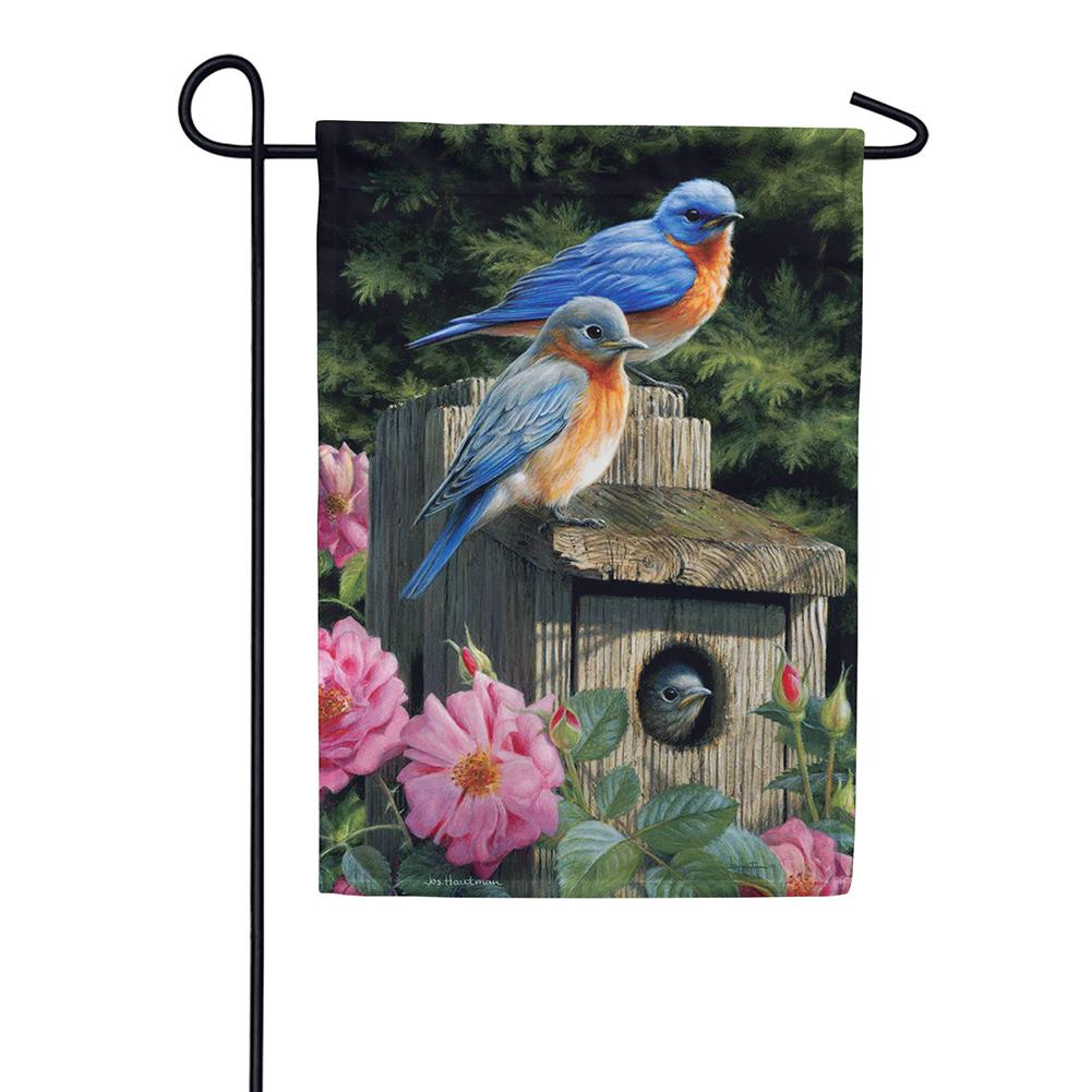 Bluebird House Floral Garden Flag