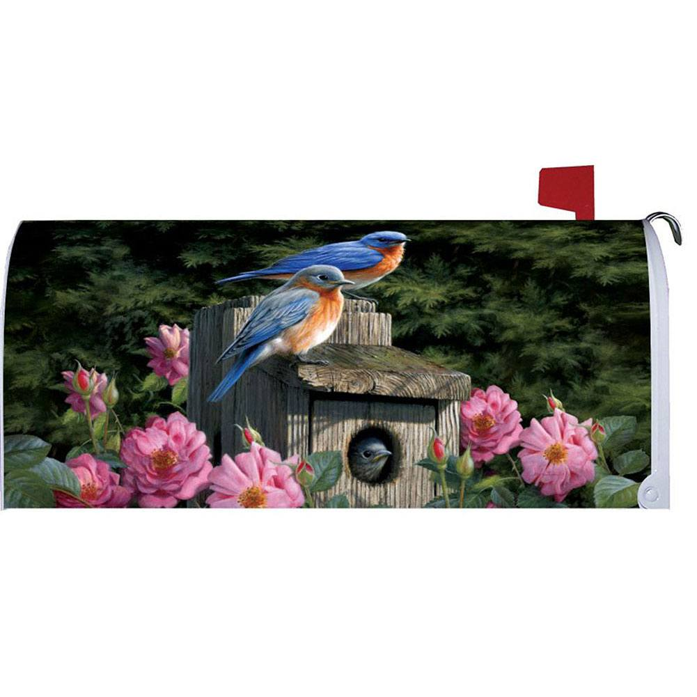 Bluebird House Floral Mailbox Cover