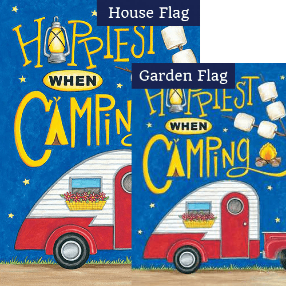 Happiest When Camping Double Sided Flags Set (2 Pieces)