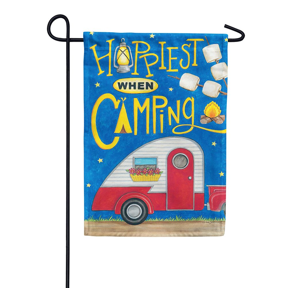 Happiest When Camping Double Sided Garden Flag