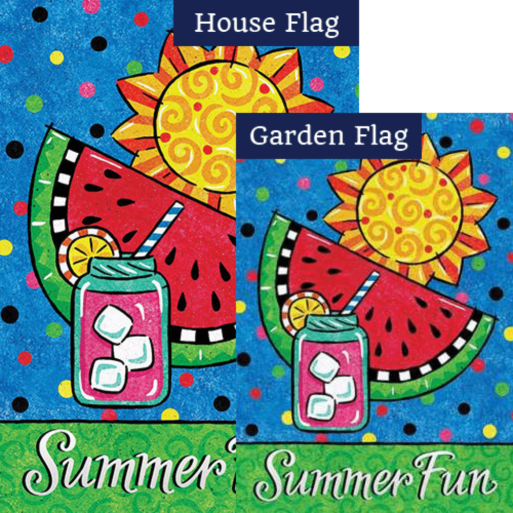 Summer Fun Watermelon Double Sided Flags Set (2 Pieces)