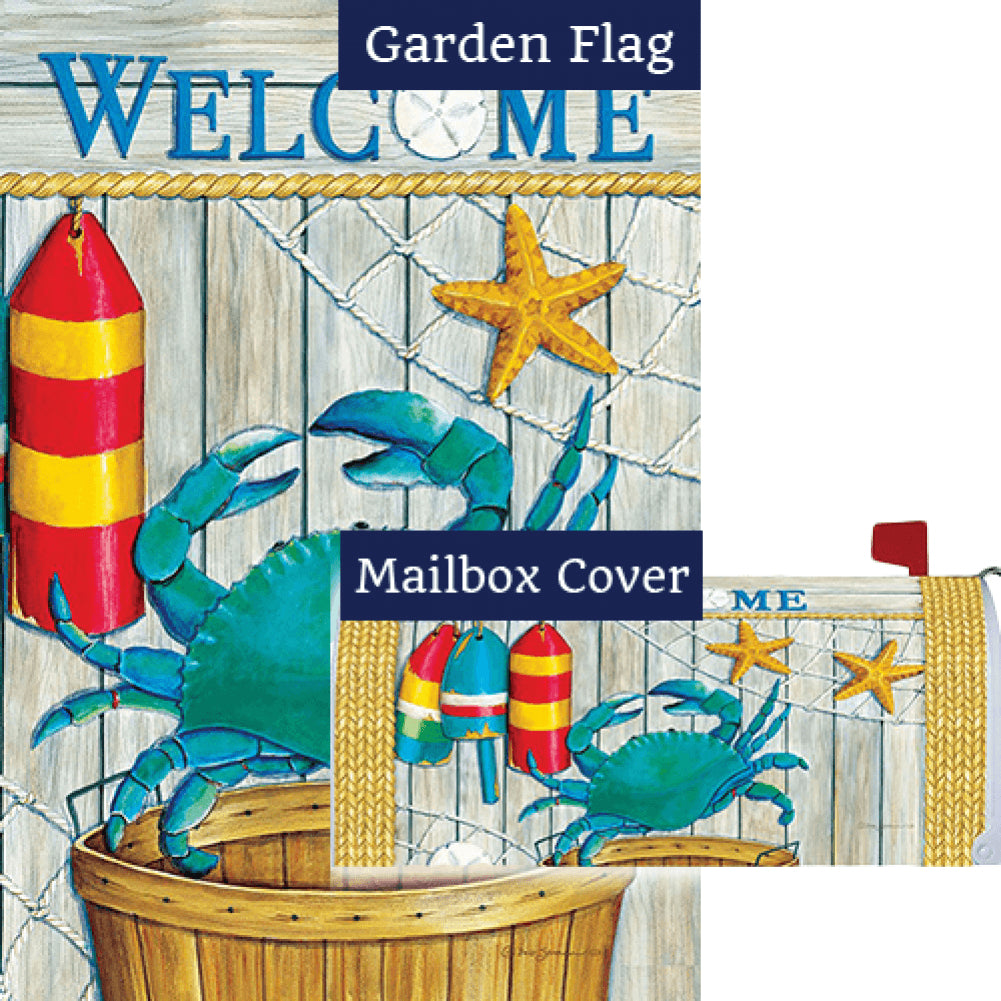 Crab Basket Double Sided Flag Mailwrap Set (2 Pieces)
