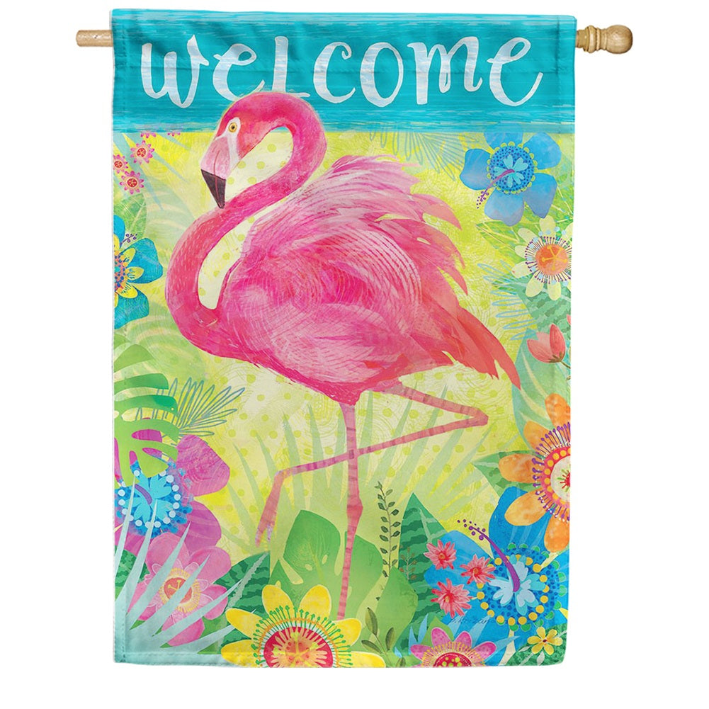Flamingo Floral Double Sided House Flag