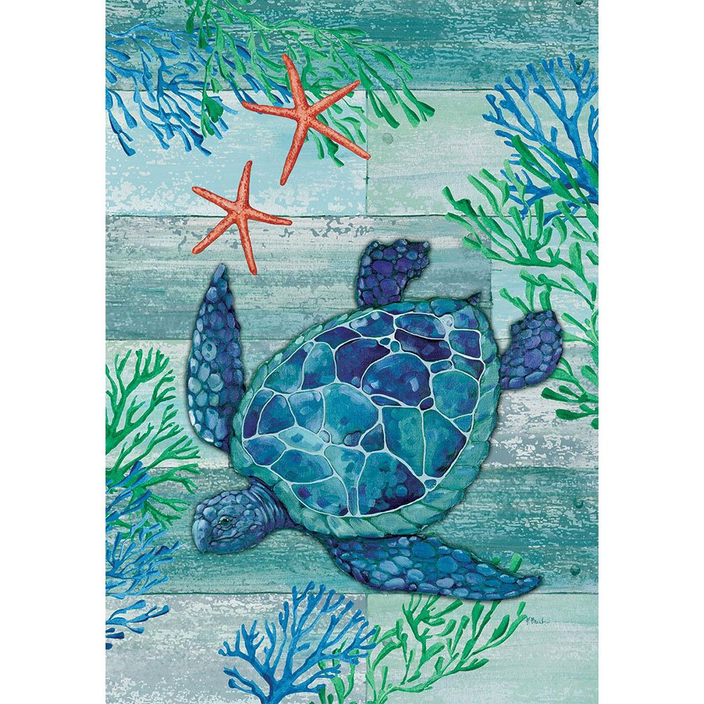 Blue Sea Turtle House Flag