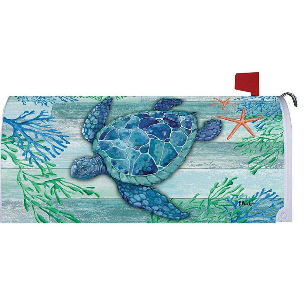 Blue Sea Turtle Mailbox Cover