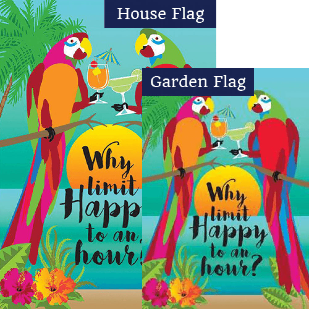 Why Limit Happy Double Sided Flags Set (2 Pieces)