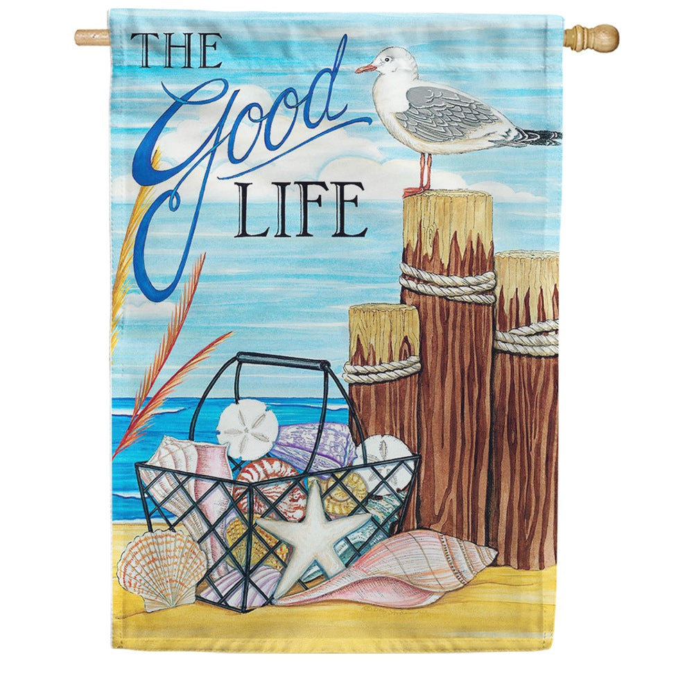 The Good Life Beach Double Sided House Flag