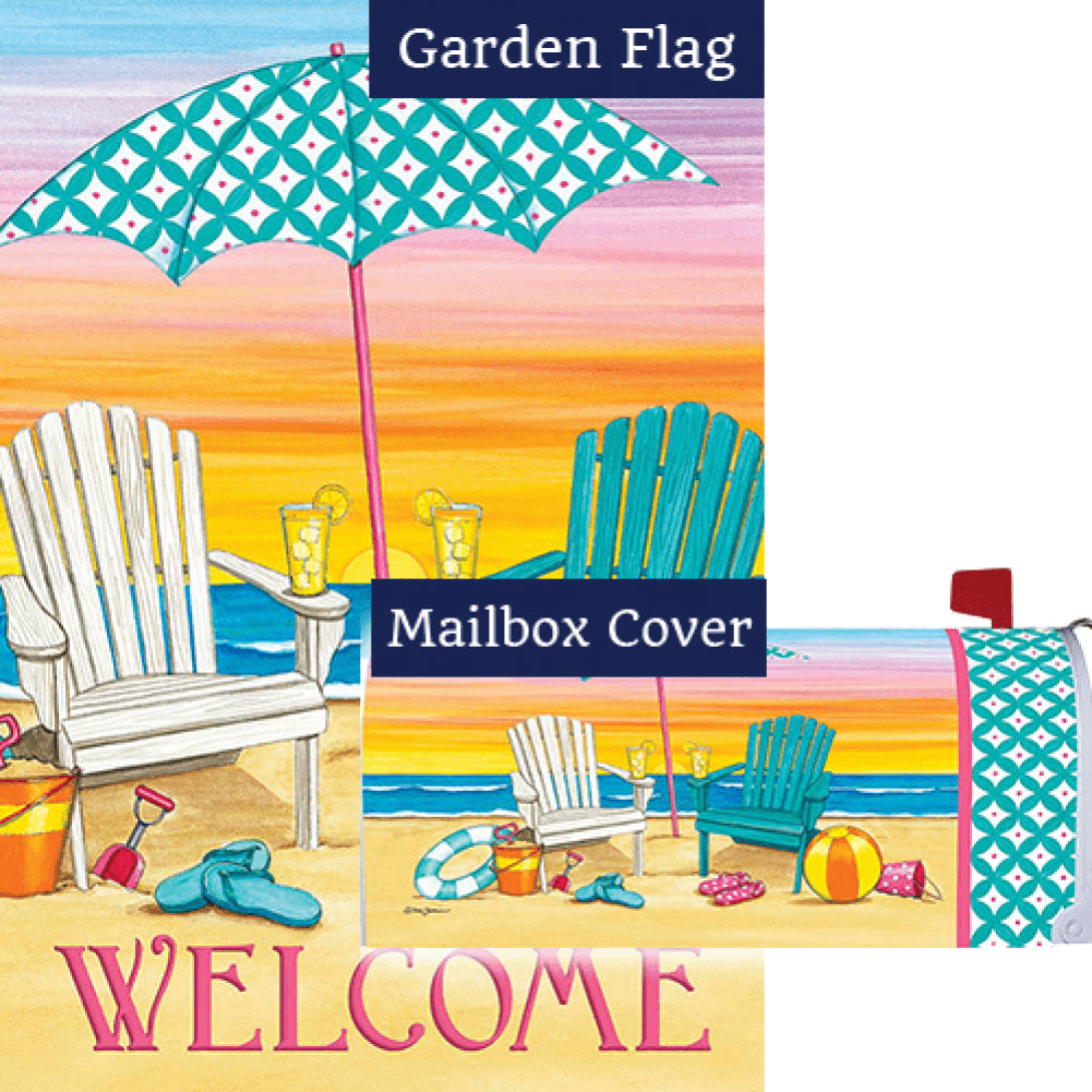 Beach Chairs Welcome Double Sided Flag Mailwrap Set (2 Pieces)