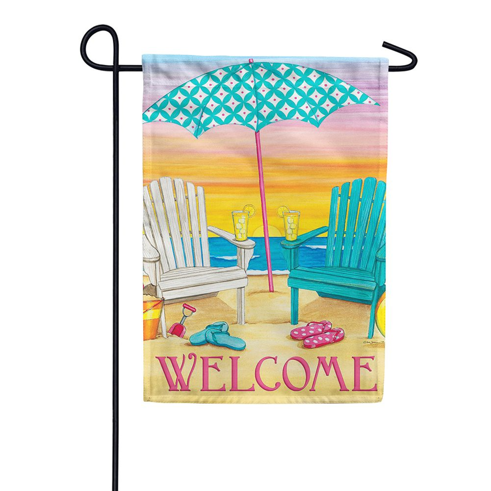Beach Chairs Welcome Double Sided Garden Flag