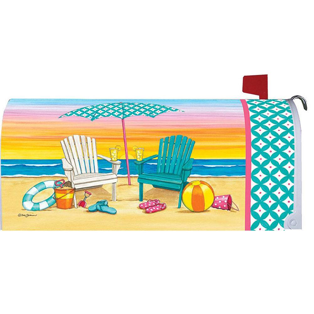 Beach Chairs Welcome Mailbox Cover
