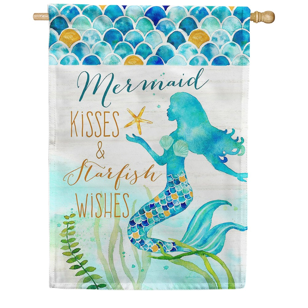 Mermaid Kisses Double Sided House Flag