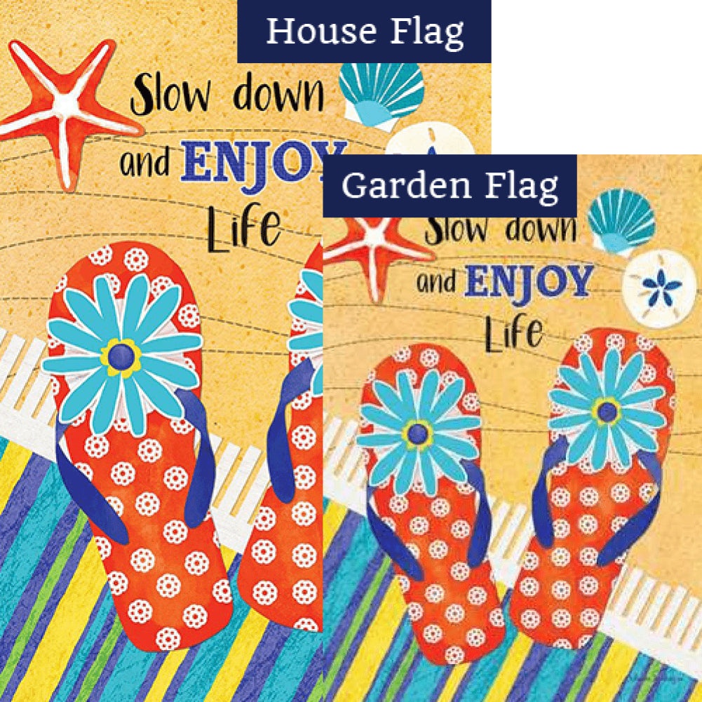 Slow Down Double Sided Flags Set (2 Pieces)