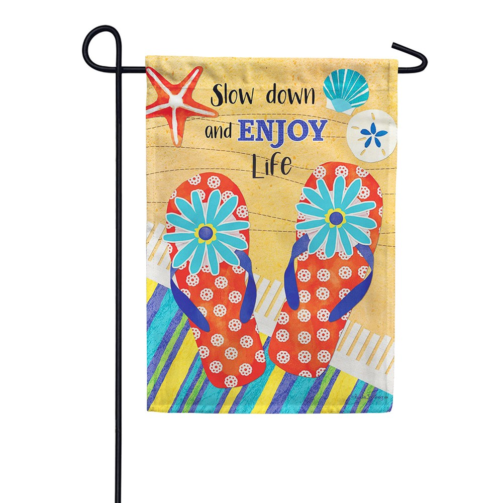 Slow Down Double Sided Garden Flag