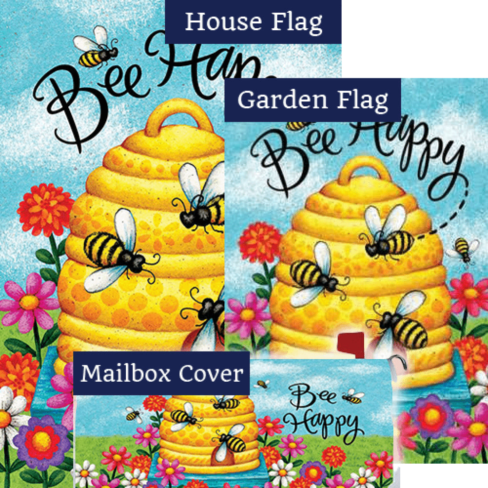 Bee Skep Bee Happy Double Sided Yard Makeover Set (3 Pieces)