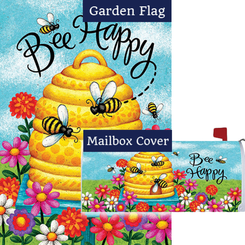 Bee Skep Bee Happy Double Sided Flag Mailwrap Set (2 Pieces)