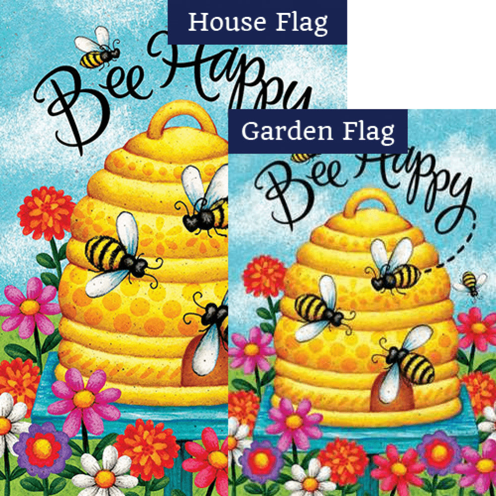 Bee Skep Bee Happy Double Sided Flags Set (2 Pieces)