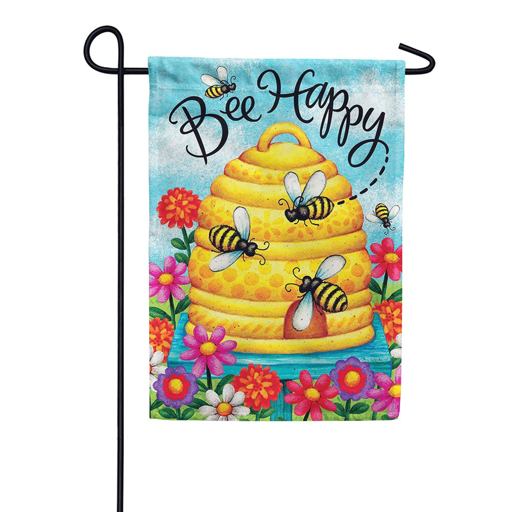 Bee Skep Bee Happy Double Sided Garden Flag