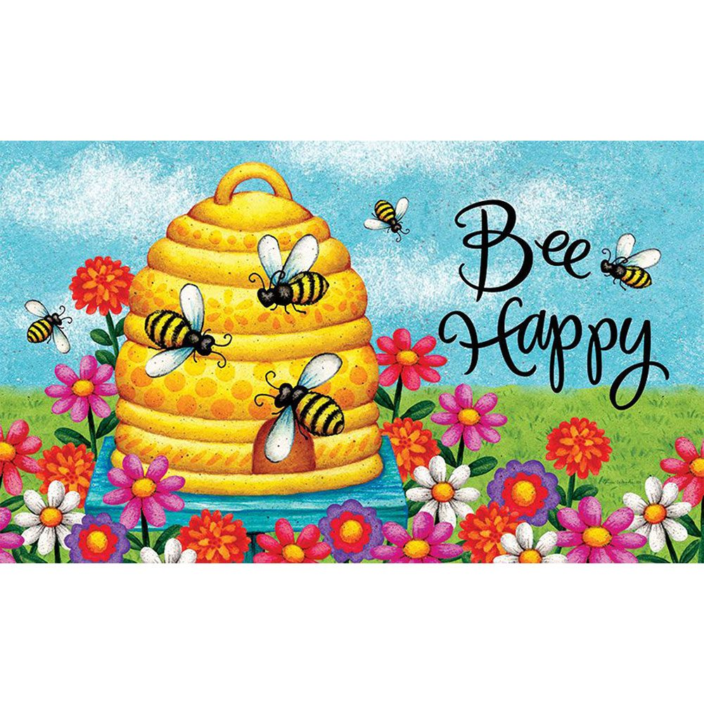 Bee Skep Bee Happy Doormat