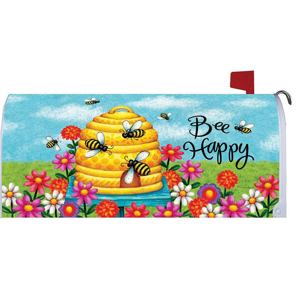 Bee Skep Bee Happy Mailbox Cover