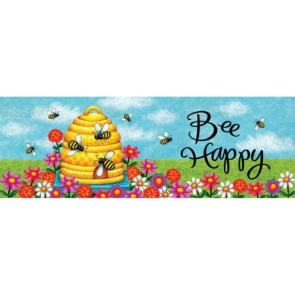 Bee Skep Bee Happy Signature Sign